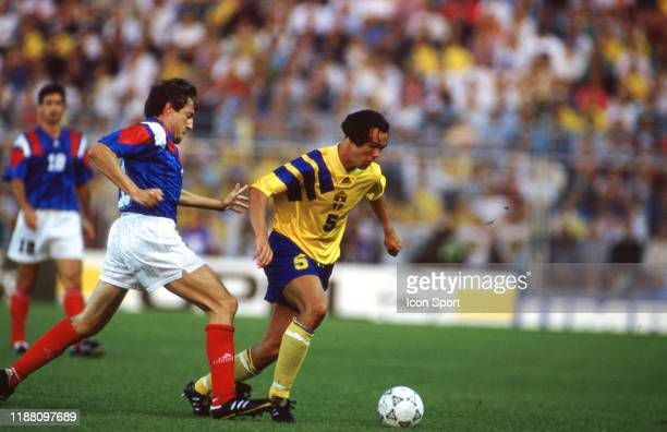 Luis Fernandez of France and Joachim Bjorklund of Sweden during the European Championship match between Sweden and France at Rasunda Stadium, Solna,...