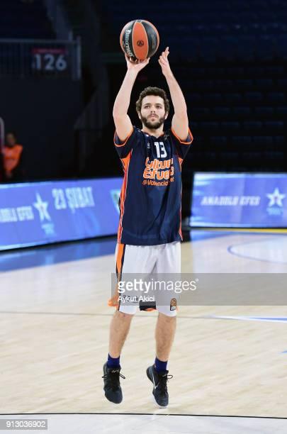 Luis Fernando #13 of Valencia Basket warmsup prior to the 2017/2018 Turkish Airlines EuroLeague Regular Season Round 21 game between Anadolu Efes...
