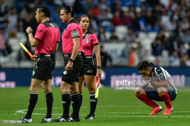 Luis Fernando Fuentes of Monterrey looks dejected at the end of the 9th round match between Monterrey and Atletico San Luis as part of the Torneo...