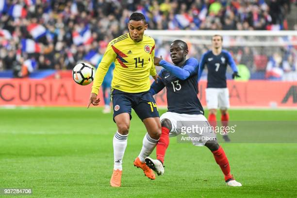 Luis Fernando Muriel of Colombia and Ngolo Kante of France during the International friendly match between France and Colombia on March 23 2018 in...