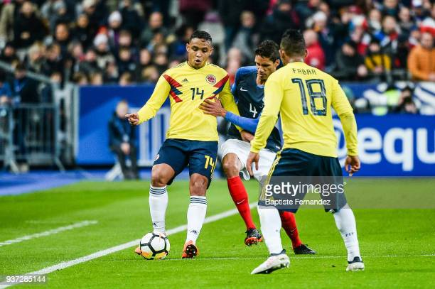 Luis Fernando Muriel of Colombia and Raphael Varane of France during the International friendly match between France and Colombia on March 23 2018 in...
