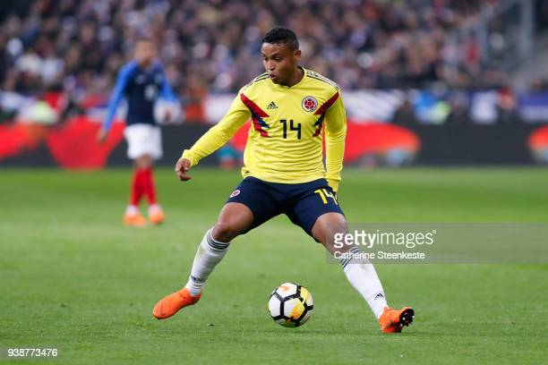 Luis Fernando Muriel of Colombia controls the ball during the international friendly match between France and Colombia at Stade de France on March 23...