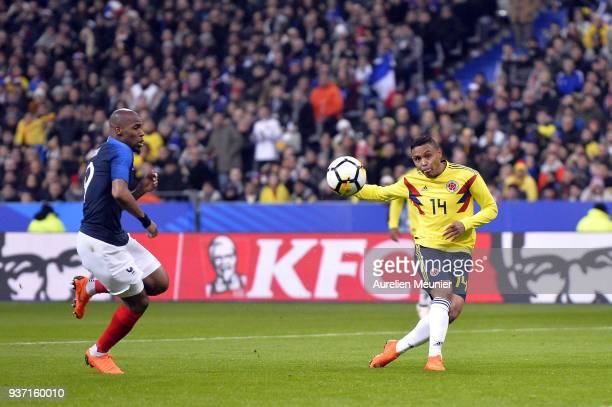 Luis Fernando Muriel of Colombia kicks the ball during the international friendly match between France and Colombia at Stade de France on March 23...