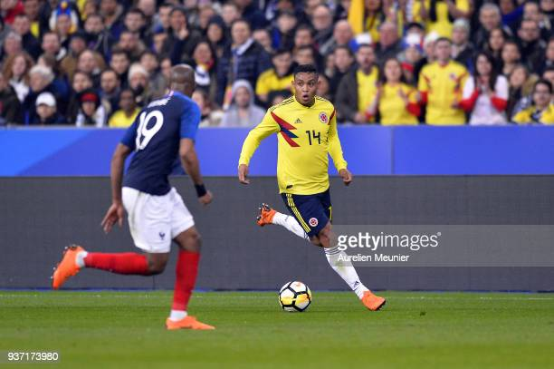 Luis Fernando Muriel of Colombia runs with ball during the international friendly match between France and Colombia at Stade de France on March 23...