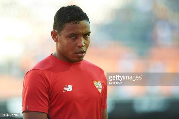 Luis Fernando Muriel of Sevilla FC looks on during the La Liga match between Valencia CF and Sevilla FC at Estadio Mestalla on october 21 2017 in...