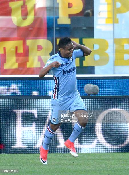 Luis Fernando Muriel of UC Sampdoria celebrates after scoring his team's first goal from the penalty spot during the Serie A match between Udinese...