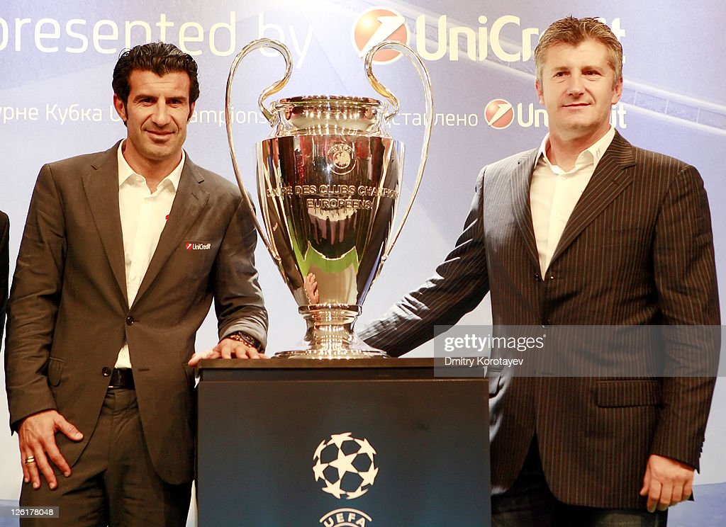 Luis Figo and Davor Suker pose for photo during the UEFA Champions League Trophy Tour 2011 on September 23, 2011 in Moscow, Russia.