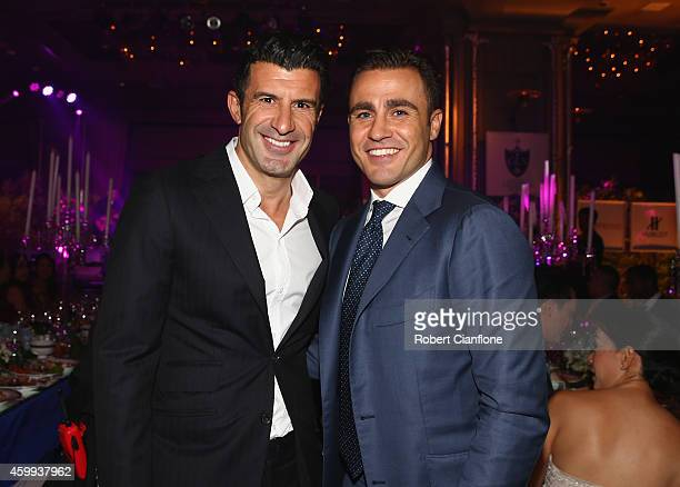 Luis Figo and Fabio Cannavaro pose during the Global Legends Series Gala Dinner at the Swissotel on December 4 2014 in Bangkok Thailand
