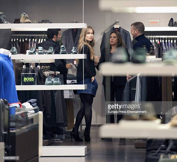 Luis Figo and Helen Svedin are seen going for shopping on December 19 2012 in Madrid Spain