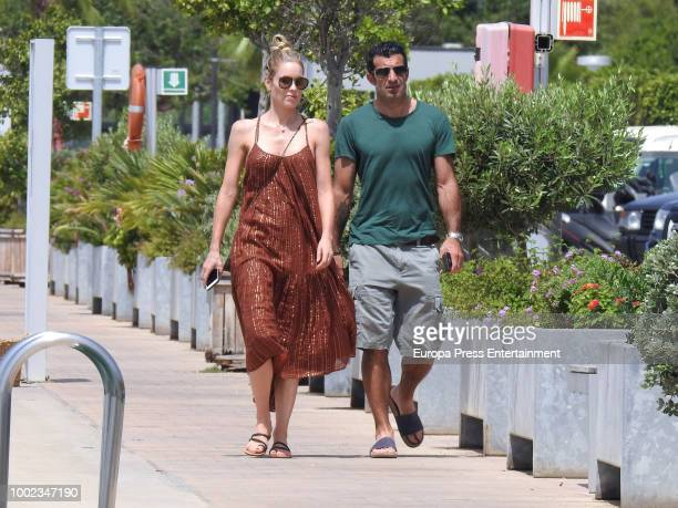 Luis Figo and Helen Svedin are seen on July 19 2018 in Ibiza Spain