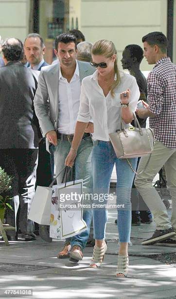 Luis Figo and Helen Svedin are seen on June 17 2015 in Madrid Spain