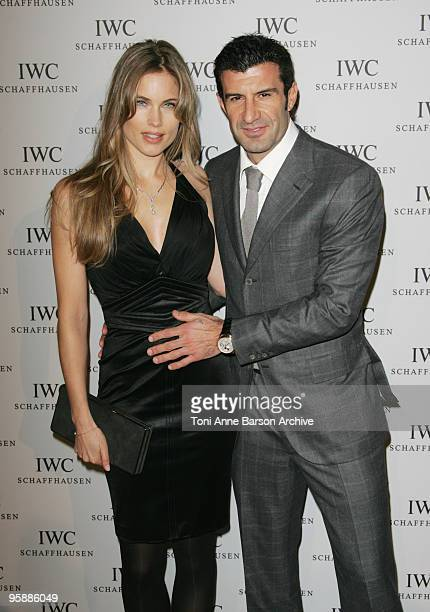 Luis Figo and Helen Svedin arrive at the IWC Schaffhausen Private Dinner 2010 at Espace Secheron on January 19 2010 in Geneva Switzerland