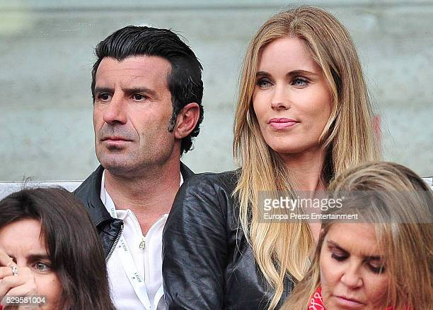 Luis Figo and Helen Svedin attend the final match during the Mutua Madrid Open tennis tournament at La Caja Magica on May 8 2016 in Madrid Spain