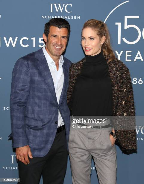 Luis Figo and Helen Svedin visit the IWC booth during the Maison's launch of its Jubilee Collection at the Salon International de la Haute Horlogerie...