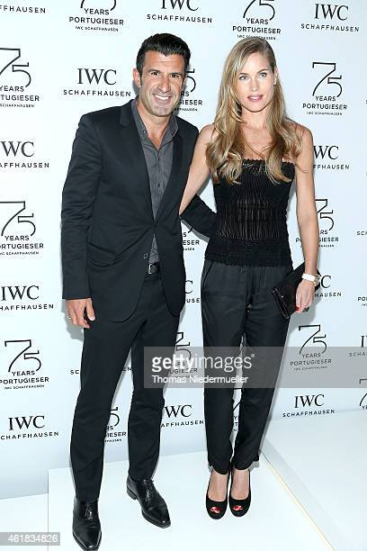 Luis Figo and Helen Svedin visit the IWC booth during the Salon International de la Haute Horlogerie 2015 at the Palexpo on January 20 2015 in Geneva...