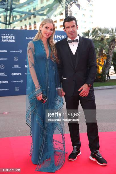 Luis Figo and his wife Helen Svedin arrive for the red carpet event at the 2019 Laureus Awards on February 18 2019 in Monaco Monaco
