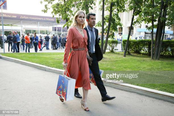 Luis Figo and his wife Helen Svedin following the 2018 FIFA World Cup Russia group A match between Russia and Saudi Arabia at Luzhniki Stadium on...