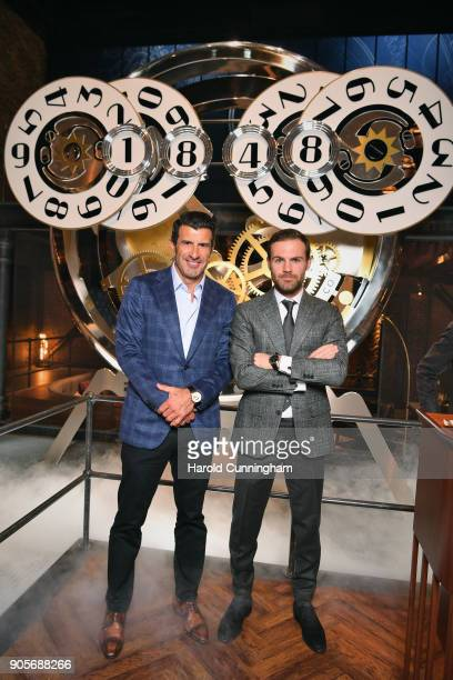Luis Figo and Juan Mata visit the IWC booth during the Maison's launch of its Jubilee Collection at the Salon International de la Haute Horlogerie on...