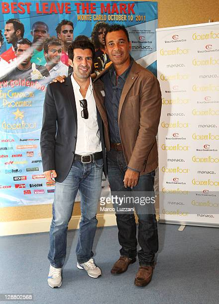 Luis Figo and Ruud Gullit attend the Golden Foot awards previews on October 9 2011 in Monaco Monaco