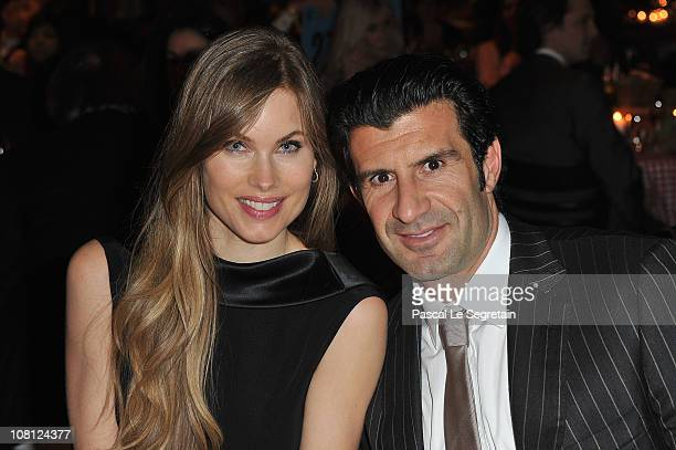 Luis Figo and wife Helen Svedin attend a Private Dinner Reception during the IWC launch of the Portofino watch range at the SIHH International Fine...