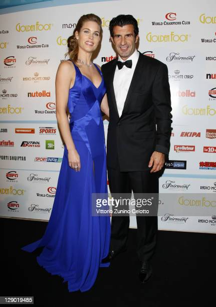 Luis Figo and wife Helen Svedin attend the Golden Foot Ceremony Awards on October 10 2011 in Monaco Monaco