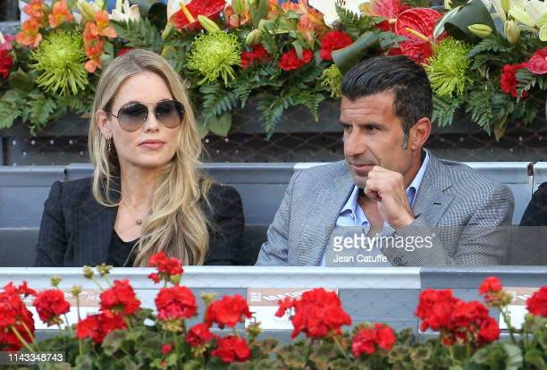Luis Figo and wife Helen Svedin attend the men's final during day 9 of the Mutua Madrid Open at La Caja Magica on May 12 2019 in Madrid Spain