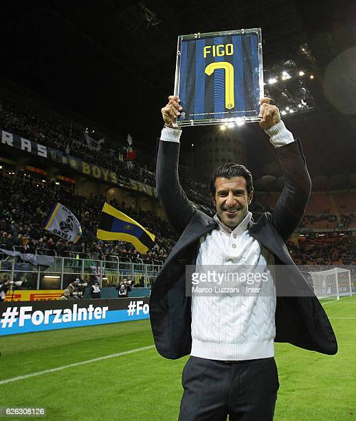 Luis Figo attends the Serie A match between FC Internazionale and ACF Fiorentina at Stadio Giuseppe Meazza on November 28 2016 in Milan Italy