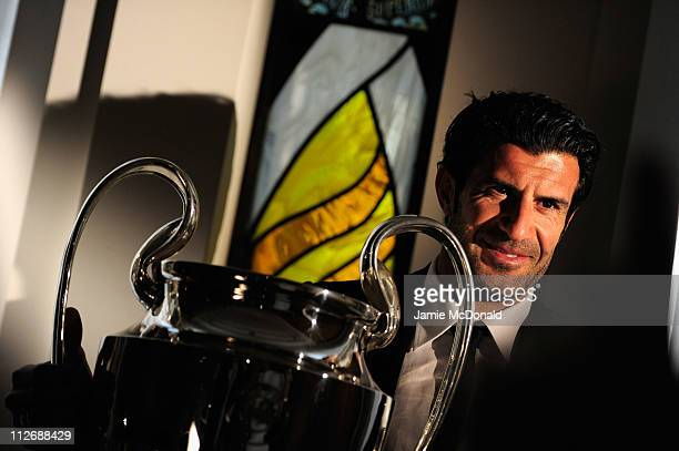 Luis Figo attends the UEFA Champions League Trophy handover on April 20 2011 in London England