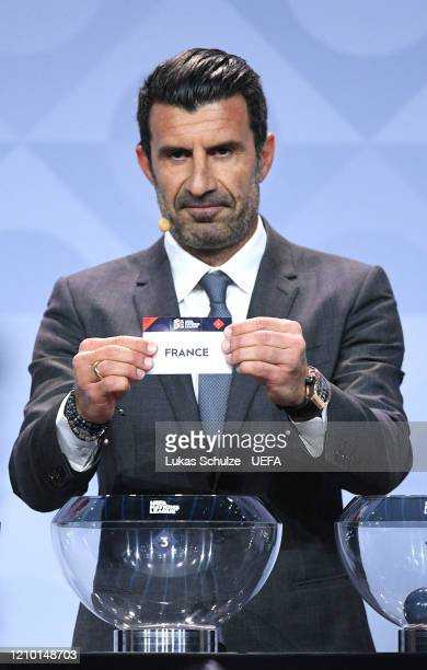 Luis Figo draws out France during the UEFA Nations League Draw at Beur van Berlage on March 03, 2020 in Amsterdam, Netherlands.