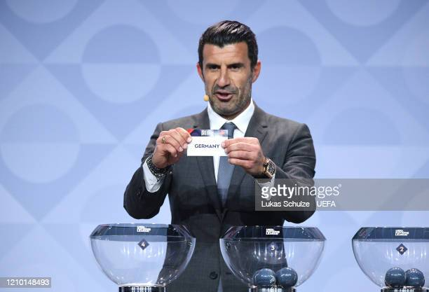 Luis Figo draws out Germany during the UEFA Nations League Draw at Beur van Berlage on March 03, 2020 in Amsterdam, Netherlands.