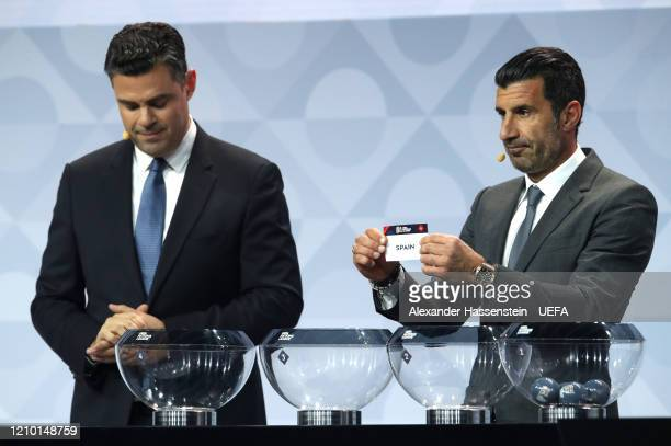 Luis Figo draws out Spain during the UEFA Nations League Draw at Beur van Berlage on March 03, 2020 in Amsterdam, Netherlands.