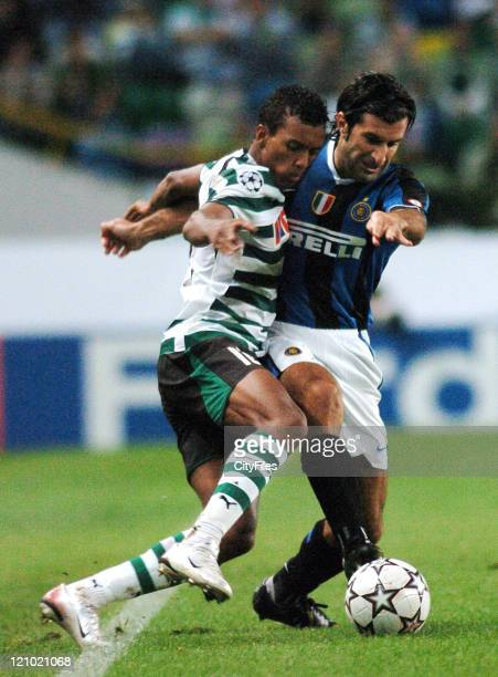 Luis Figo during the UEFA Champions League Group B match between Sporting and FC Internazionale Milano at Estadio Alvalade in Lisbon Portugal on...