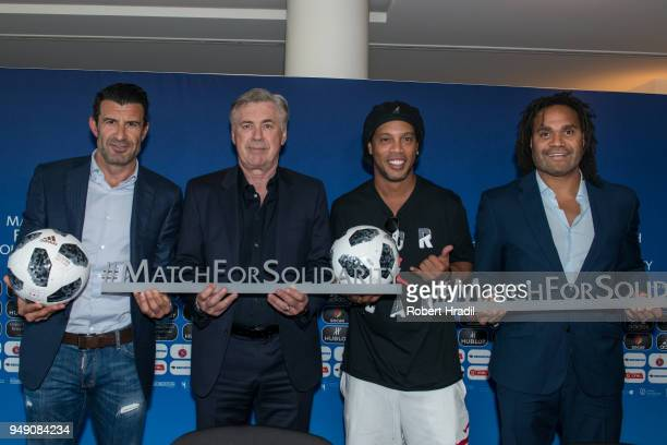 Luis Figo former Portuguese and Real Madrid player Head Coach Carlo Ancelotti Ronaldinho Former Brazil and Barcelona player and Christian Karembeu...