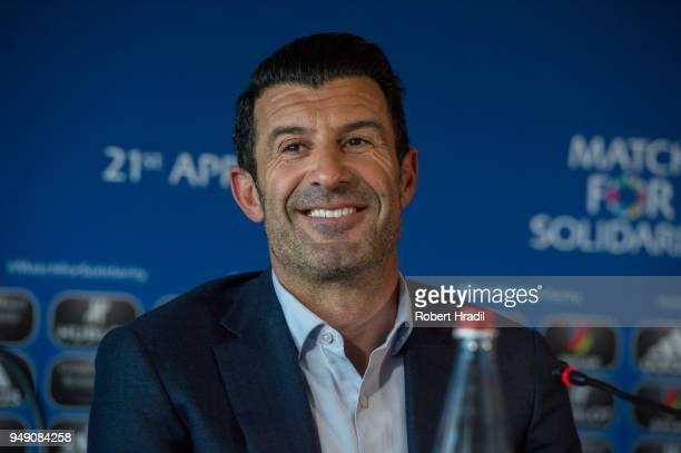 Luis Figo former Portuguese and Real Madrid player reacts during a press conference for Match for Solidarity on April 20 2018 at Grand Hotel...