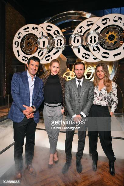 Luis Figo Helen Svedin Juan Mata and Evelina Kamph visit the IWC booth during the Maison's launch of its Jubilee Collection at the Salon...