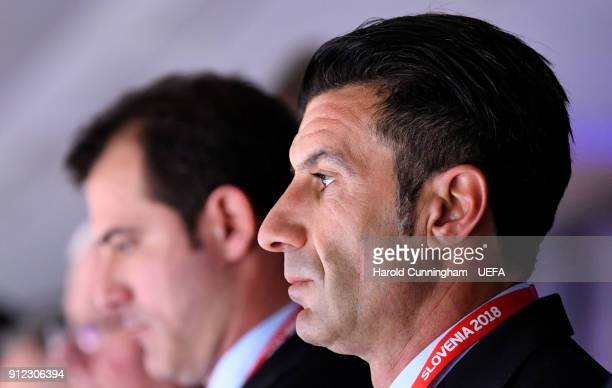 Luis Figo in the stands ahead of the UEFA Futsal EURO 2018 Group A match between Slovenia and Serbia at the Arena Stozice on January 30 2017 in...