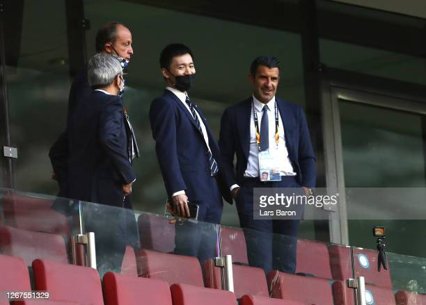 Luis Figo interacts with Steven Zhang, President of FC Internazionale prior to the UEFA Europa League Final between Seville and FC Internazionale at...
