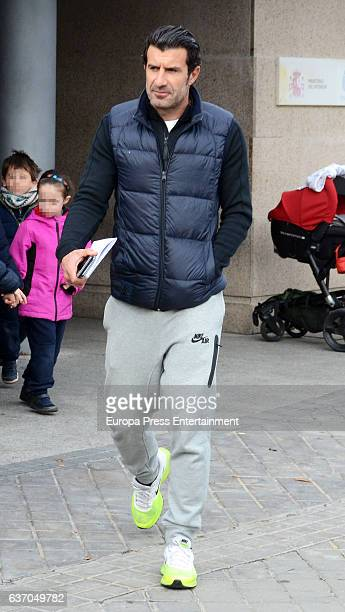 Luis Figo is seen leaving the Police Station after beeing victim of a burglary on November 24 2016 in Madrid Spain