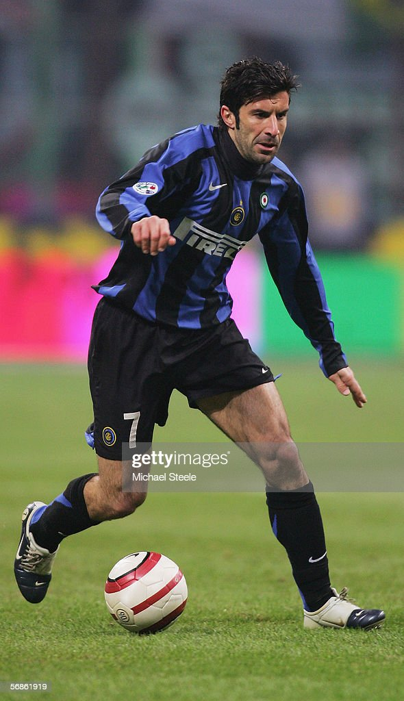 Luis Figo of Inter Milan in action during the Serie A match between Inter Milan and Juventus at the Stadio San Siro on February 12, 2006 in Milan, Italy.