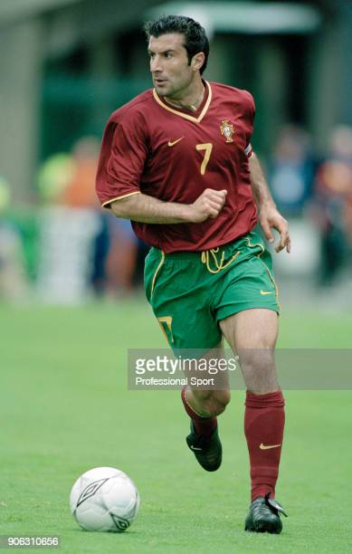 Luis Figo of Portugal in action during the FIFA World Cup Qualifying Match between the Republic of Ireland and Portugal at Lansdowne Road in Dublin...