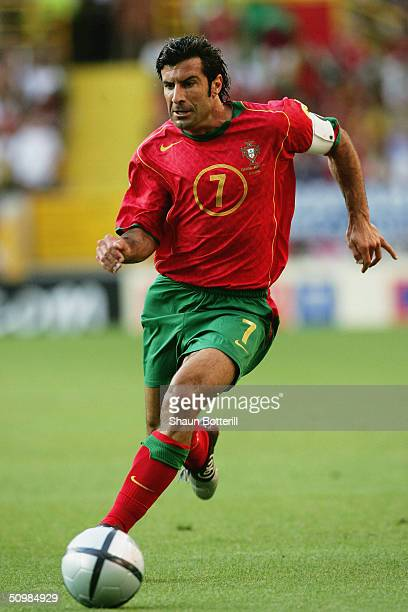 Luis Figo of Portugal in action during the UEFA Euro 2004 Group A match between Portugal and Spain on June 20 2004 at the Estadio Jose Alvalade in...