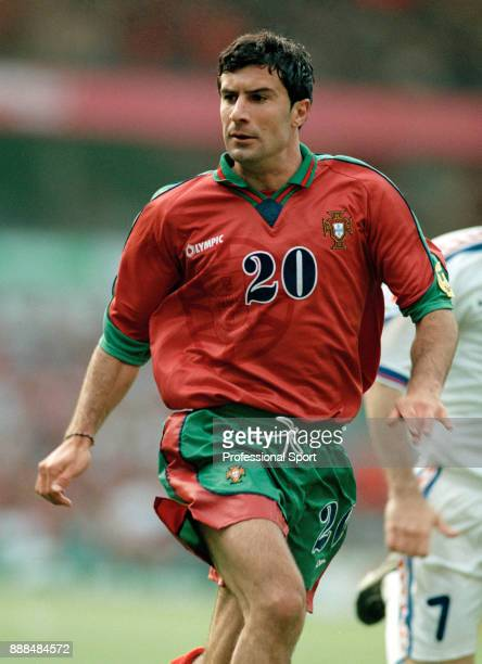 Luis Figo of Portugal in action during the UEFA Euro 96 Quarter Final between Czech Republic and Portugal at Villa Park on June 23 1996 in Birmingham...