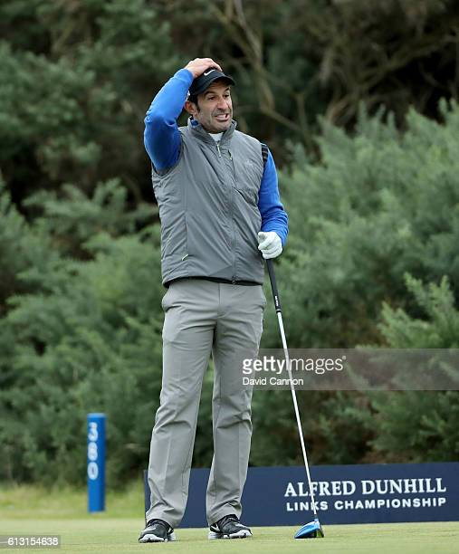 Luis Figo of Portugal on the first tee during the second round of the Alfred Dunhill Links Championship on the Golf Links course Kingsbarns on...