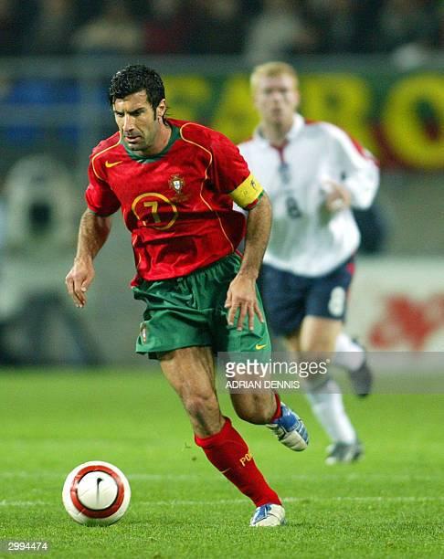 Luis Figo of Portugal runs downfield during the international friendly match against England at the Estadio Algarve in Faro 18 February 2004 Figo was...