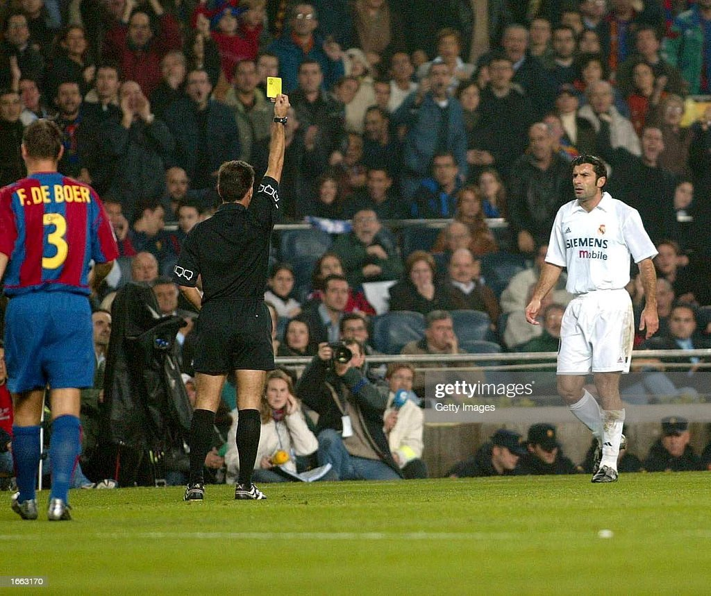 Luis Figo Of Real Madrid Is Booked During The La Liga Match Between News Photo Getty Images