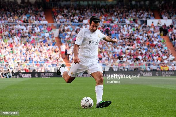 Luis Figo of Real Madrid Legends in action during the Corazon Classic charity match between Real Madrid Legends and Ajax Legends at Estadio Santiago...