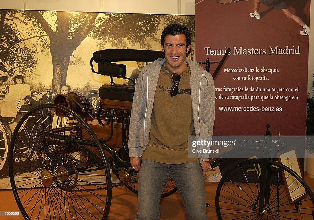 Luis Figo of Real Madrid poses for a photo at the Mercedes Benz hospitality lounge during the Tennis Masters Madrid at The Pabellon De Cristal, Madrid, Spain on October 20, 2002.