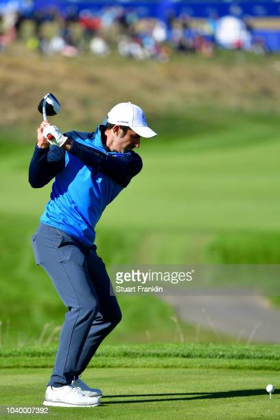 Luis Figo of Team Europe plays a shot during the celebrity challenge match ahead of the 2018 Ryder Cup at Le Golf National on September 25 2018 in...