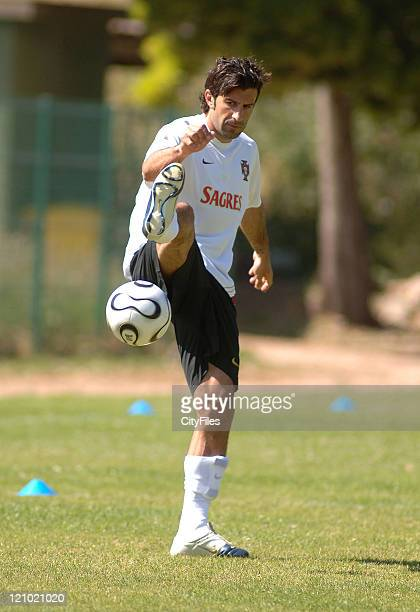 Luis Figo of the Portuguese national team at their afternoon training session to prepare for the FIFA 2006 World Cup at the Jamor National Stadium in...