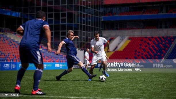 Luis Figo of UEFA controls the ball during the FIFA Congress Delegation Football Tournament at CSKA Arena during the on June 12 2018 in Moscow Russia